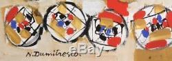 Natalia DUMITRESCO (1915-1997) huile/toile. Abstraction 1965. V291