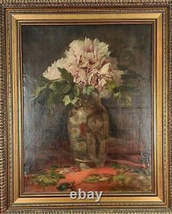 Nature Morte Avec Des Fleurs. Signé Vcl. Huile Sur Toile. Xix-xx Siècle