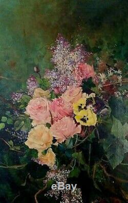 Nature Morte De Fleurs. Huile Sur Toile. Signé (ricardo) Manzanet. Espagne. XIX