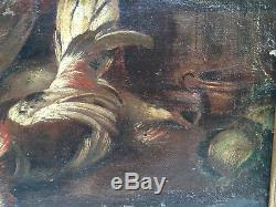 Nature Morte Gibier Vers 1680 Boucher Cuisinier XVII Huile sur Toile Peinture