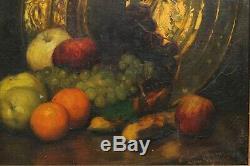 Nature morte début XXè, fruits, raisin, pomme, orange, banane, cuivre, signature