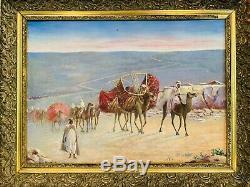 ORIENTALISTE huile sur panneau XIXe La Caravane des courtisanes 64 x 84 cm