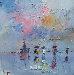PARIS tableau peinture huile sur toile réalisé au couteau peintre KLEINER