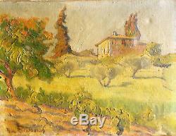 PAUL RAVESOU Paysage, alentours Aix en Provence. Huile sur toile v837