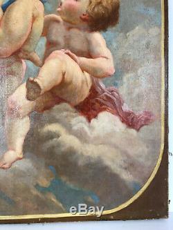 PEINTURE / HUILE SUR TOILE DU XVIIIe REPRÉSENTANT DEUX ANGELOTS 65 CM X 46 CM