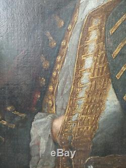 PEINTURE HUILE SUR TOILE PORTRAIT D'UN ARISTOCRATE ÉPOQUE FIN XVIIIè