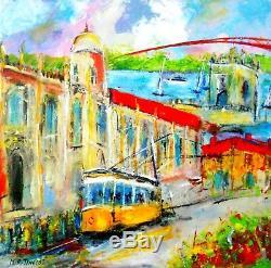 PEINTURE TABLEAU Tramway de Lisbonne huile sur toile signé TINOCO cotation AKOUN