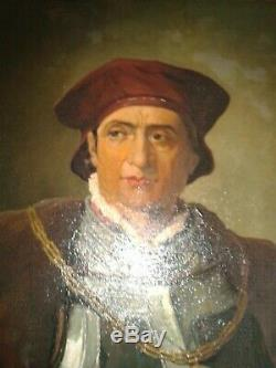 PORTRAIT DE GENTILHOMME ITALIEN XVIIème EN CUIRASSE Huile sur toile XIXème