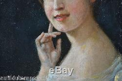 PORTRAIT FEMME HUILE SUR TOILE PEINTURE CADRE TABLEAU ANCIEN Jeanne BAUDOT