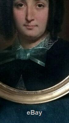 PORTRAIT FEMME HUILE SUR TOILE maroufléee panneau STYLE CHARPENTIER vers 1860