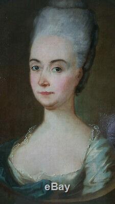 PORTRAIT FEMME NOBLE époque FIN XVIIIème siècle Huile sur toile, 18ème siècle