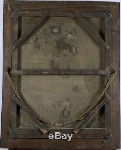 PORTRAIT FEMME aux bagues! Grande huile sur toile à RESTAURER XIX siècle
