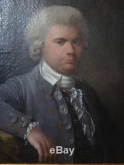 PORTRAIT HOMME XVIII ème SIGNE M. KLOTZ HST ENCADRE 75 x 85 cm