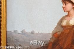 PORTRAIT HUILE ECOLE ITALIENNE XIXeme JEUNE FILLE PEINTURE TABLEAU ANCIEN CADRE