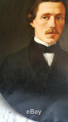 PORTRAIT de jeune homme époque Napoléon III 19ème siècle huile sur toile