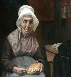 P. Joseph Alizard 1868-1949. Grande & Magnifique Toile. Femme Au Bonnet Blanc