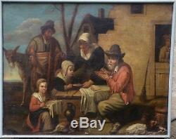 Paire d'Huiles sur Toile Hollandaises XVIIIème Familles de Paysans