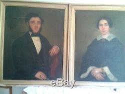 Paire d'Huiles sur toile PORTRAITS DE FAMILLE, Ancêtres, XIXe, signées date1855
