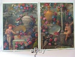 Paire de tableaux de boiserie huiles sur toile époque XVIII ème siècle