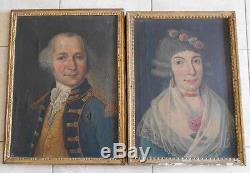 Paire de tableaux huiles sur toiles couple XVIIIè officier du roi homme femme