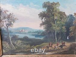 Paire huile sur toile chasse à courre XIXe