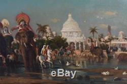 Parade indienne huile sur toile Orientaliste par Gustave Garaud (1844-1914)