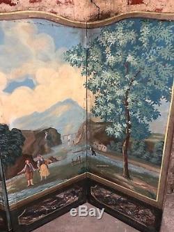 Paravent 4 feuilles de style directoire avec peinture huile sur toile