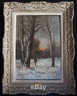 Paul GAGNEUX huile sur toile 19e / chasseur en forêt / antique painting hunter