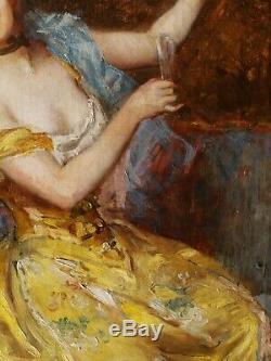 Paul GERVAIS peintre TOULOUSE tableau huile portrait jeune femme ivre bouteille