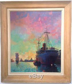 Paul IGERT Huile sur toile Illustrateur marine Port Pointillisme coucher soleil