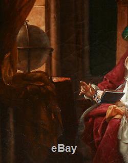 Pauline AUZOU tableau huile romantique troubadour leçon père enfant Restauration