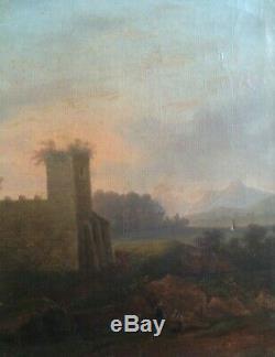Paysage à l'Antique animé Tableau ancien XIXème Ruines Ecole Française MILLET