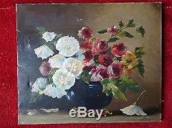 Peinture Ancienne Huile sur Toile Nature Morte au Bouquet Signée Bepvad