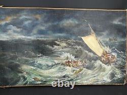 Peinture Ancienne, huile sur toile marine