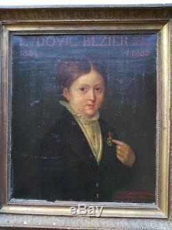 Peinture, Huile PORTRAIT D'ENFANT A LA MEDAILLE Légion d'Honneur Tableau XIXe