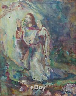 Peinture Lucien Binaepfel Lutz peintre alsacien HST alsace scène religieuse