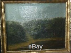 Peinture XVIII tableau chasse a cour XVIII signé Bertaux 1775 huile sur toile
