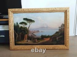 Peinture ancienne huile sur toile du XIXe la baie de Naples