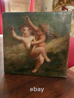 Peinture ancienne, huile sur toile, représentant deux anges