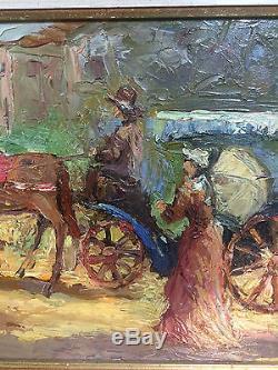 Peinture ancienne / huile sur toile signée et encadrée Promenade en calèche