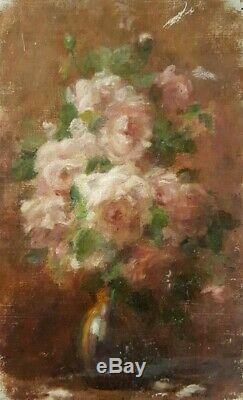 Peinture huile Jules Cyrille Cave bouquet de fleurs XIXeme XXeme