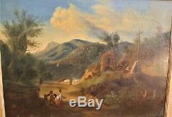 Peinture-huile-paysage Italien-italie-fontaine-calvaire-montagne-cadre-xix Eme