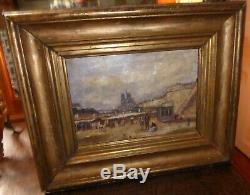 Peinture tableau HST Notre Dame de Paris XIXe signé L DUPUY