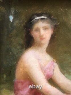 Petit Tableau Portrait Femme Paysage Jules-Cyrille Cavé (1859-1949) Bouguereau