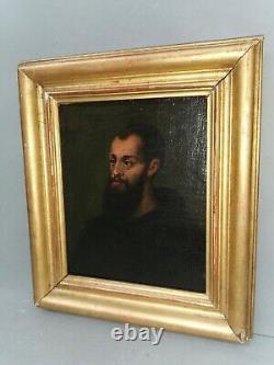 Petit Tableau ancien / huile sur toile. Portrait d un Moine / d un saint