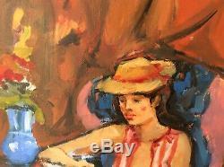 Pierre CORNU Ec Fr Modèle au chapeau J femme lisant Toile 61x50 coté répertorié
