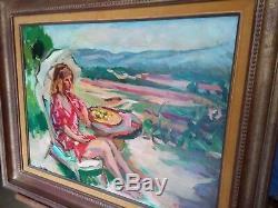 Pierre CORNU Le modèle à l'ombrelle les Alpilles de St Rémy HUILE SUR TOILE