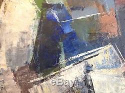 Pierre MANTRA (1935) Tableau HST Huile sur toile 1959 Abstrait Constructivisme