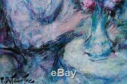 Pierre-eugène Duteurtre (1911-1989) Jeune Femme, Fleurs, Huile S/toile Signée