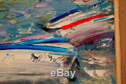 Plage d' Etretat. Huile / toile signé Dominique KLEINER -1967. Cadre 45x52 cm